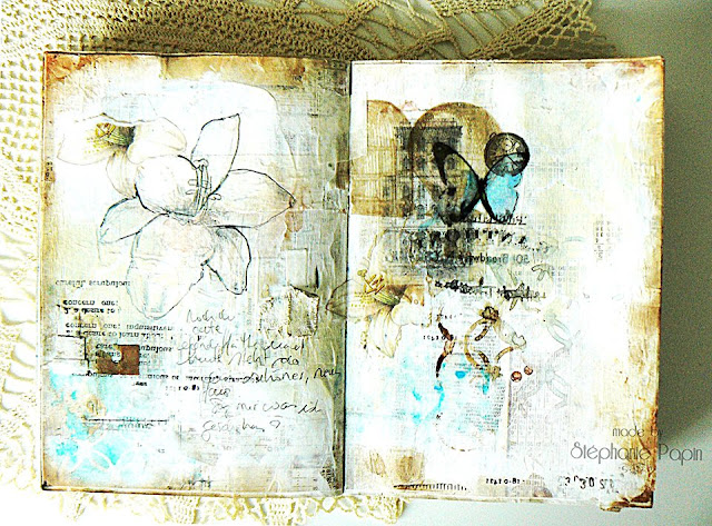 Scraps of Elegance scrapbook kits: Mixed Media Double Art Journal Pages With Multiple Image Transfers Photo Tutorial - Stephanie Papin created these gorgeous art journal pages with our Lisa's Sweet September kit, and did a step-by-step tutorial showing her image tranfser technique.