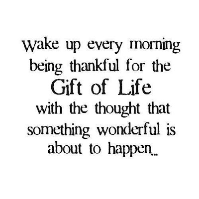 Wake up every morning being thankful for the gift of life with the thought that something wonderful is about to happen...