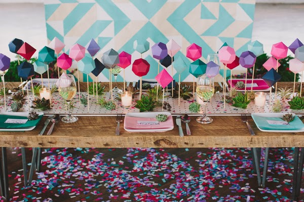 Pantone Color Of The Year Radiant Orchid geometric table runner