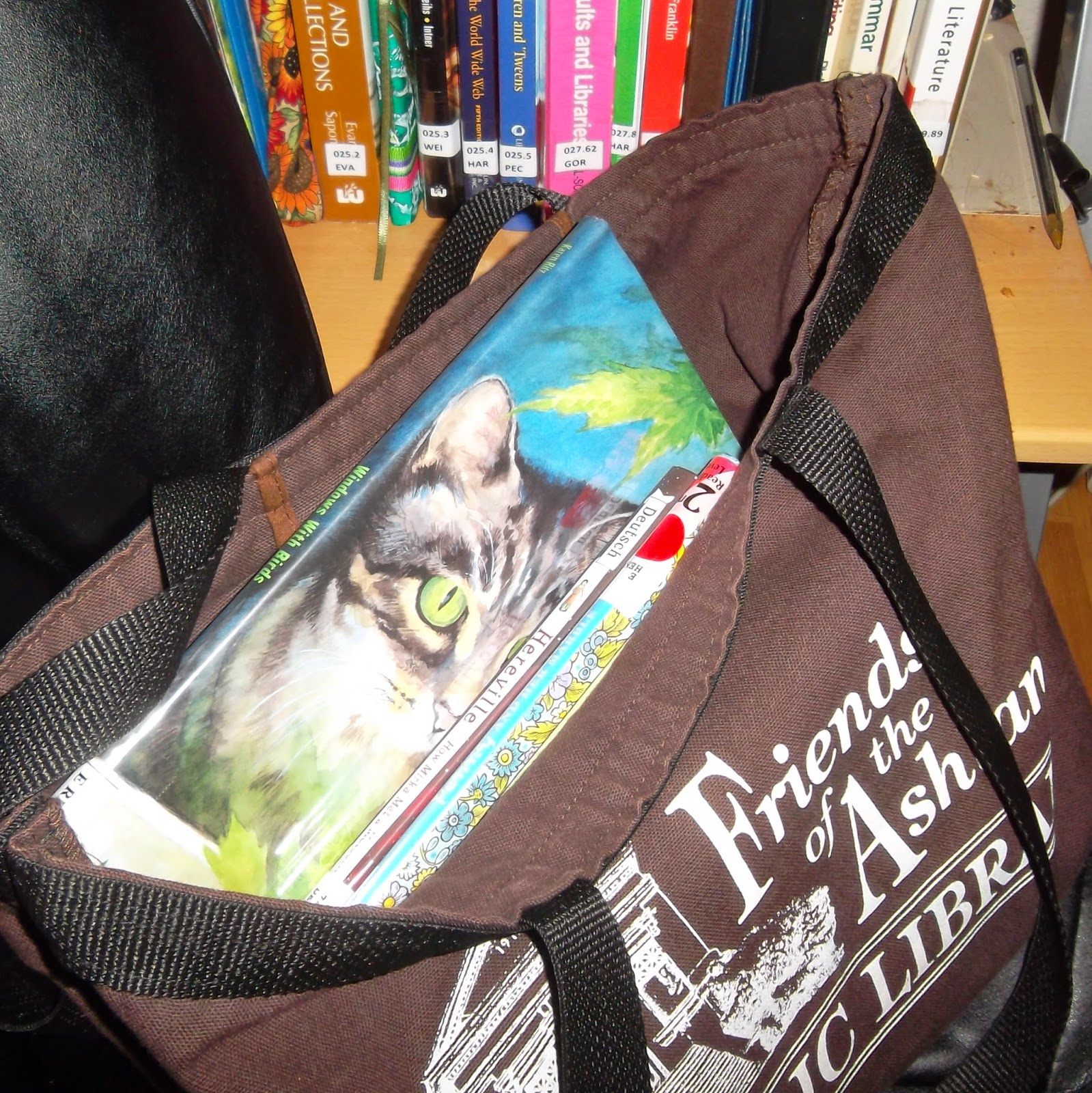 Picture book with painting of a gray tabby cat on the front cover, partially visible with spines of other books inside brown canvas bag. The bag is printed with the logo and name of Friends of the Ashland Public Library.