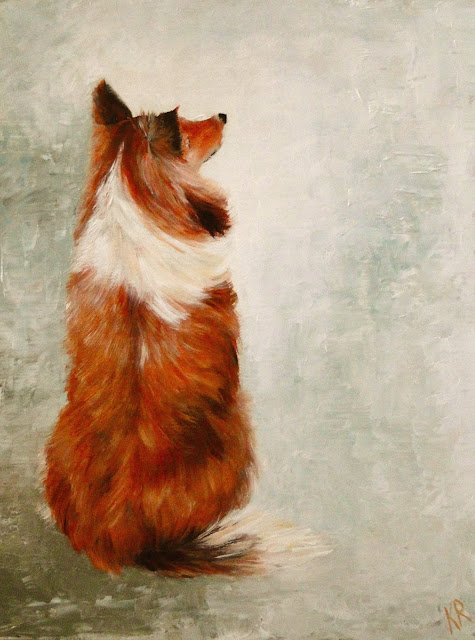 sheltie, rough collie, sitting dog, oil painting of a dog