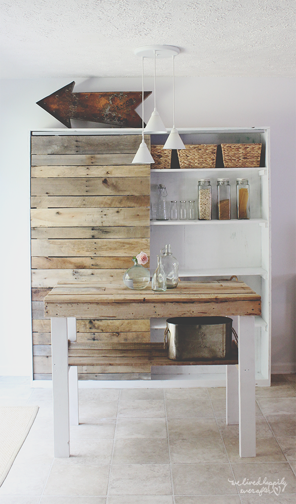 Ana White Rustic Farm Hutch With Sliding Pallet Barn Door Featuring We Lived Happily Ever