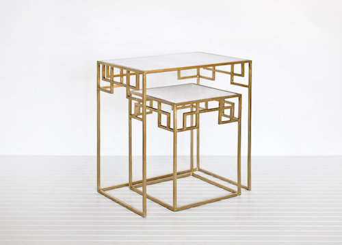 CANDELABRA WORLDS AWAY NESTING TABLES IN GOLD LEAF