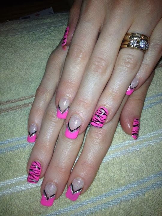 Acrylic sculpts then LED polish design pink & black glitz and silver ...