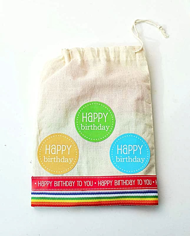 SRM Stickers Blog - Birthday Gift Set by Yvonne - #muslin #bag #birthday #stickers #borders