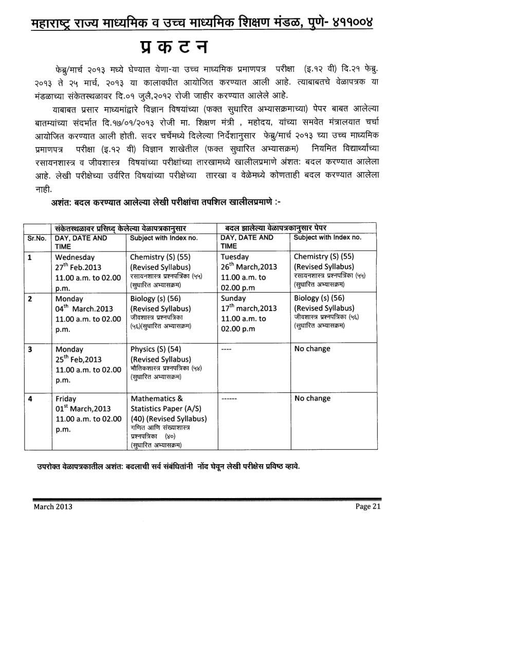 SSC/HSC 10th/12th TIME TABLE 2013 MAHARASHTRA BOARD msbshse.ac.in