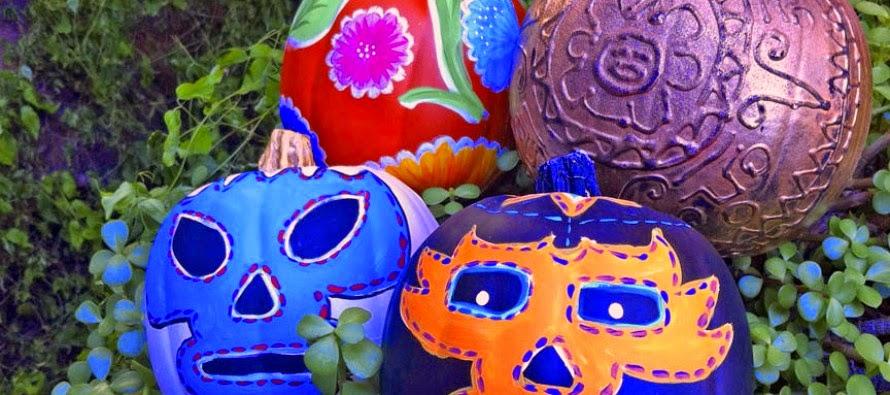 http://www.craftychica.com/2012/10/mexi-halloween-lucha-libre-aztec-oilcloth-pumpkins/