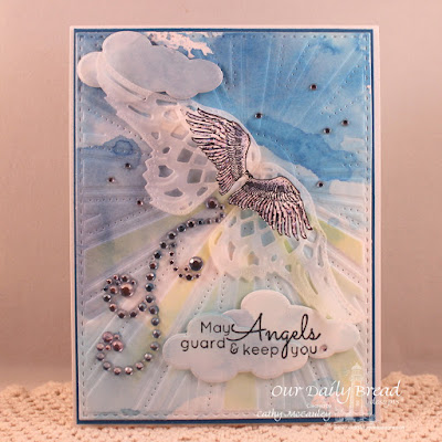 Our Daily Bread Designs Stamp sets: Angels Descending, ODBD Custom Dies: Sunburst Background, Angel Wings, Clouds and Raindrops
