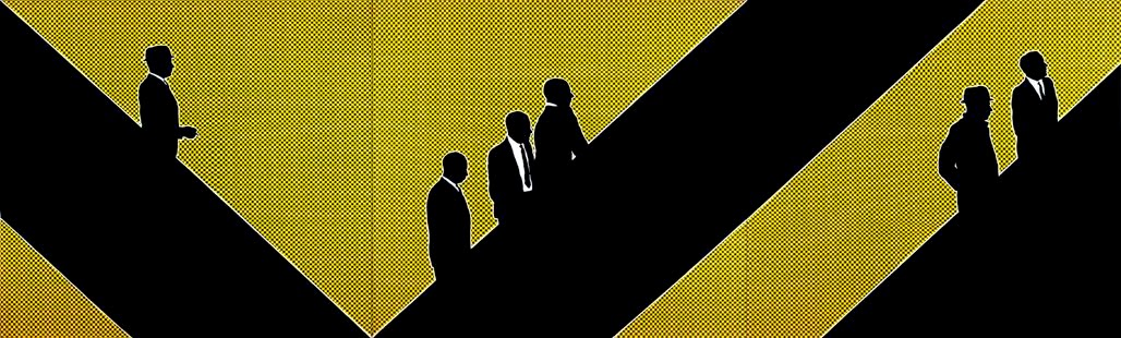 painting of business men in executive suits travelling up escalators