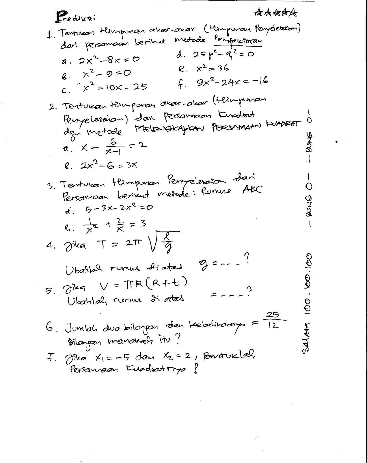 Starbung Kelas 8 Persamaan Kuadrat 2011