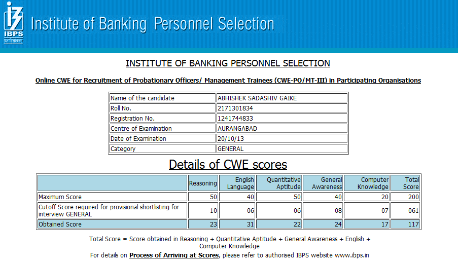 Toppers Score card for IBPS PO CWE III 2013