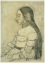 "Van Gogh, after Holbein. ""The Daughter of Jacob Meyer"""