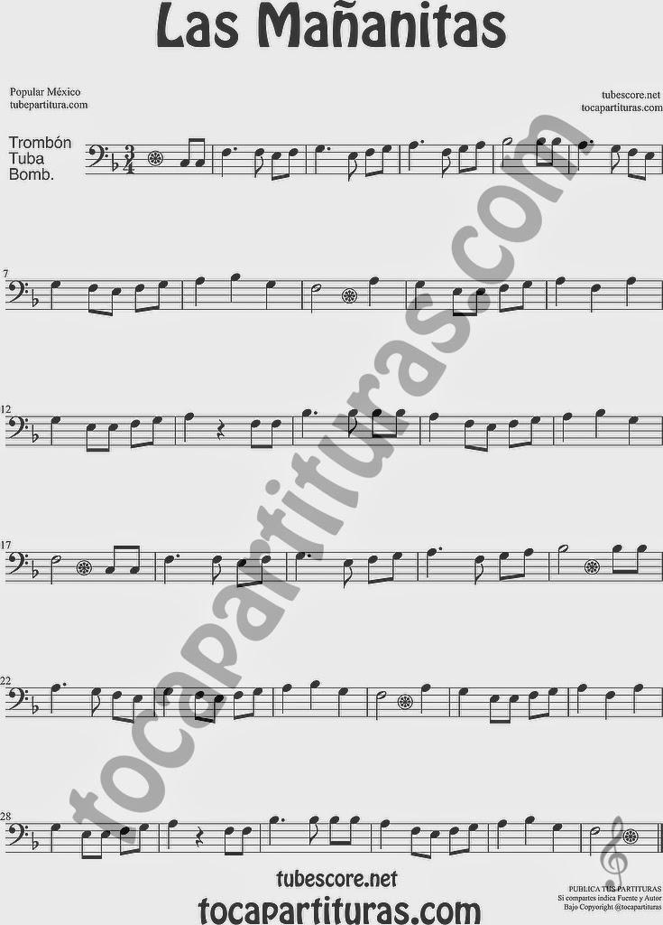 Las Mañanitas Partitura de Trombón, Tuba Elicón y Bombardino Sheet Music for Trombone, Tube, Euphonium Music Scores