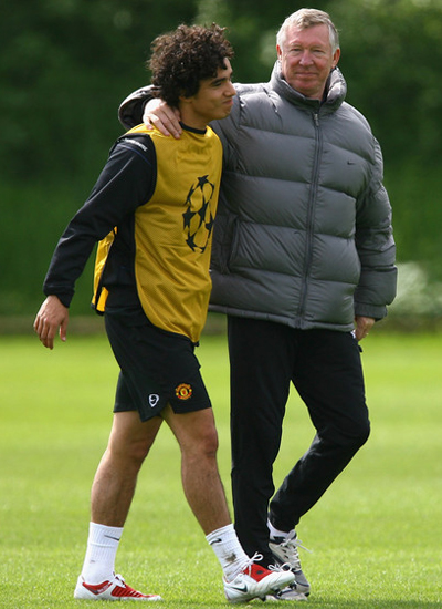 Sir Alex Ferguson and Rafael da Silva in Training season 2011-2012
