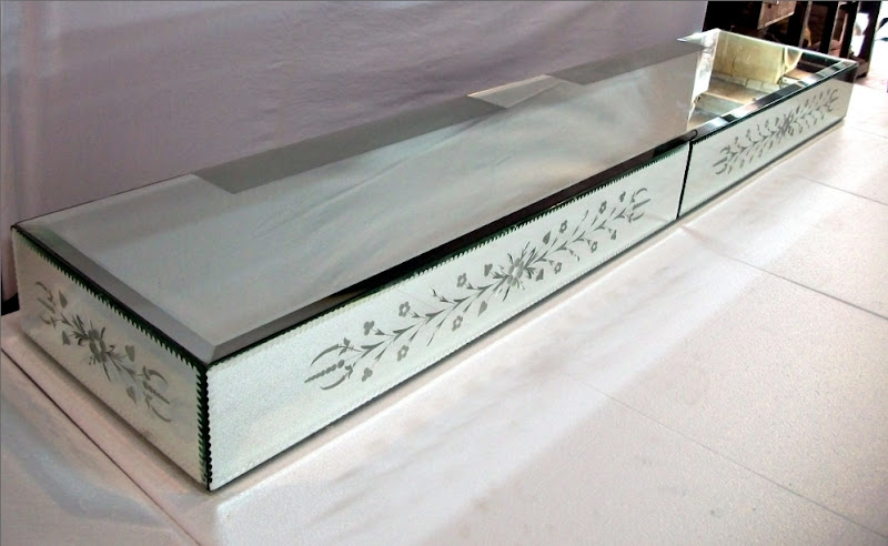 Glass Wall Shelves with Mirror
