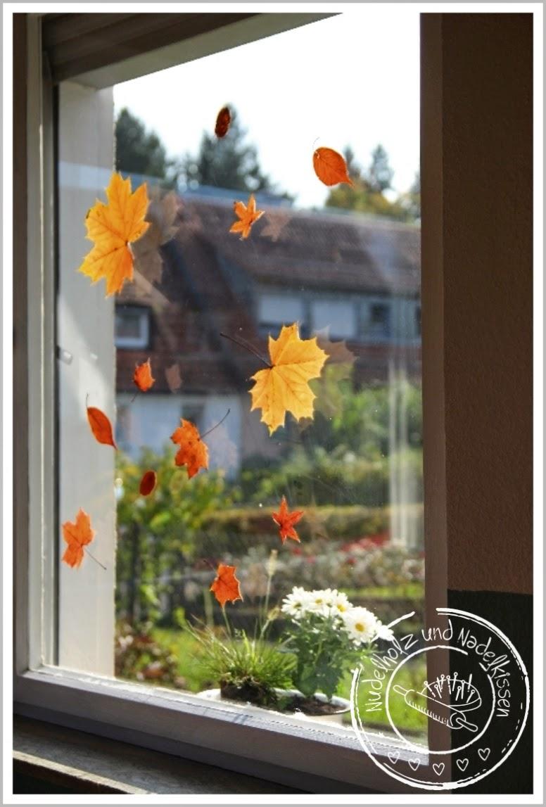 Nudelholz und nadelkissen einfache herbstdeko mit bl ttern - Herbstdeko furs fenster ...