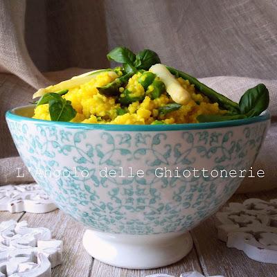 couscous di kamut allo zafferano, con piselli, asparagi bianchi di bassano ed asparagi selvatici