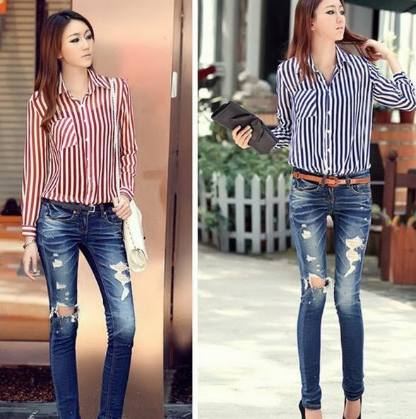 Women in Vertical stripes to looks taller