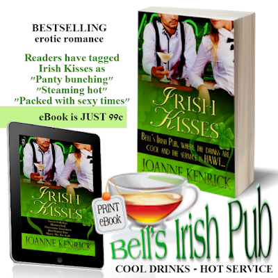 Bestselling Irish Kisses contemporary erotic romance series by joanne kenrick, tasty treats. hot service and cold drinks