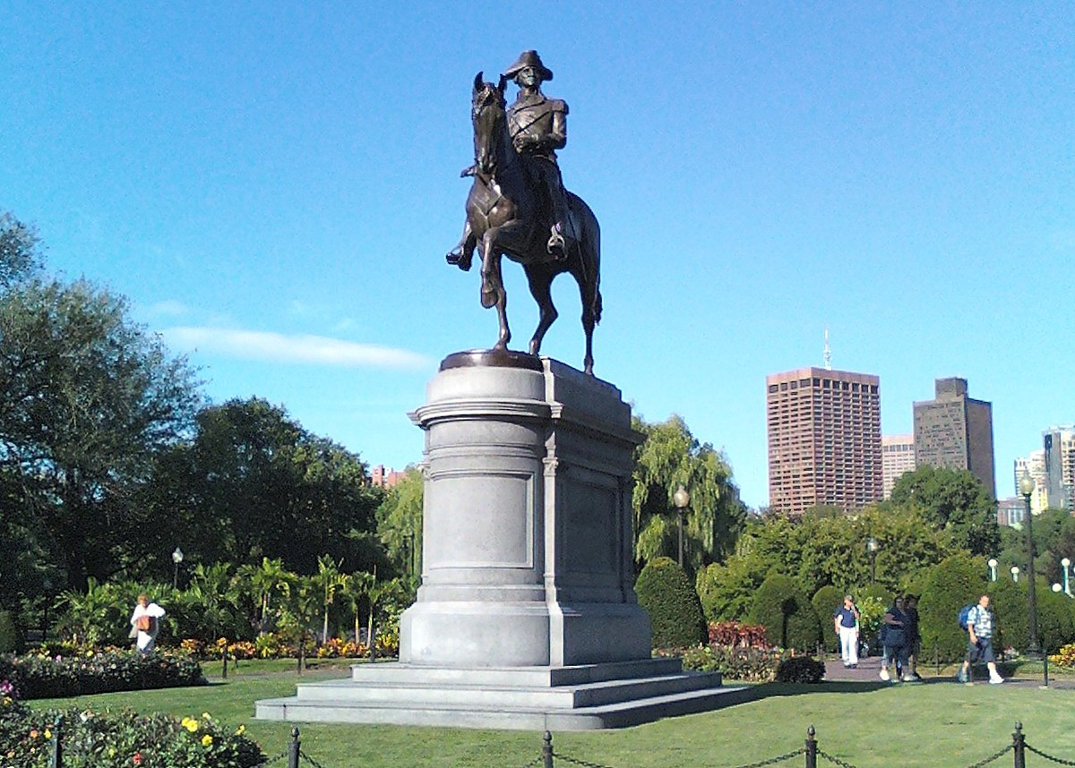 horse, statue, washington, mount, boston, public garden