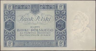 Polonia 5  Zlotych 1930 P# 72
