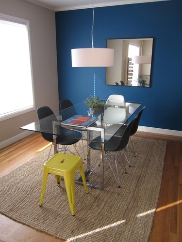 Dark Blue Makes A Beautiful Accent Wall In This Lovely Minimal Dining Room Image Apartment Therapy I Think The Following Three Rooms Are My Favorite Of