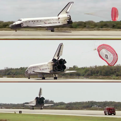 Shuttle Discovery: The pilot deploys a chute just before the front gear touches the runway to help stop the vehicle. NASA, 2011.