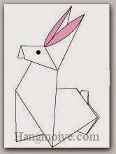 Bước 17: Vẽ mắt để hoàn thành cách xếp con thỏ bằng giấy theo phong cách origami.