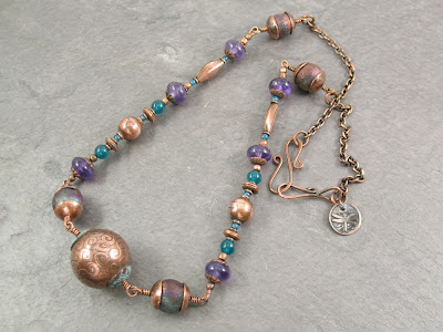 etched copper & raku necklace