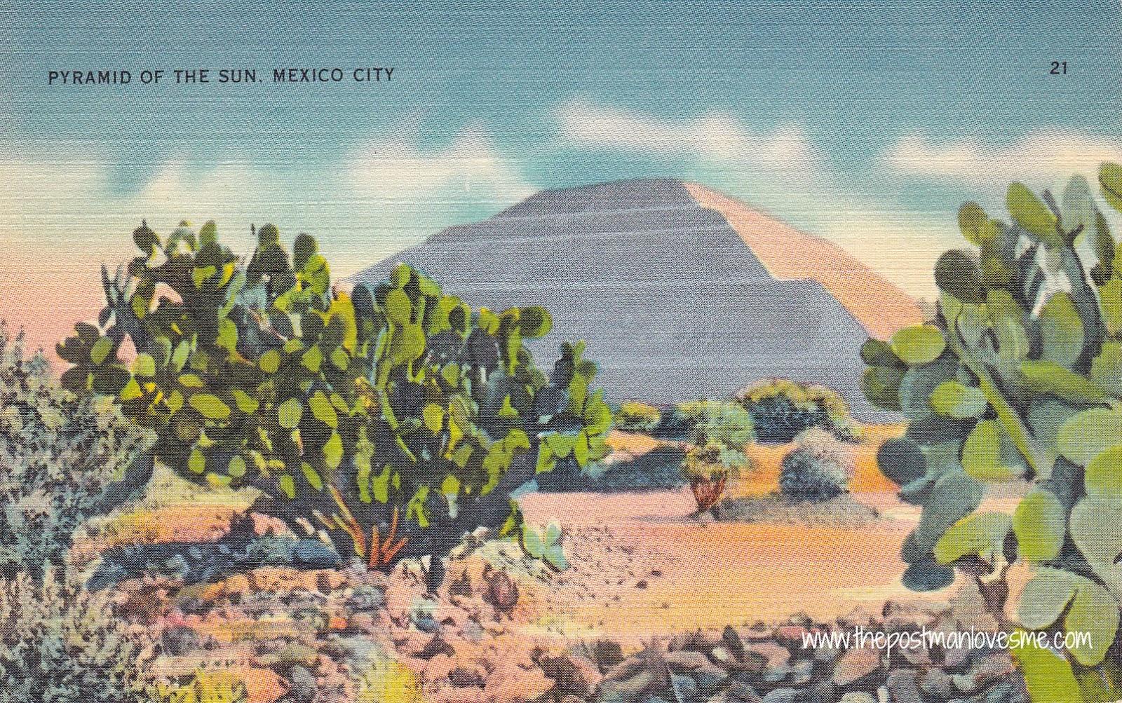 Pyramid of the Sun, Mexico City, Vintage Postcard #postcard #vintagepostcards