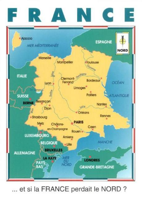 Postcards of Nations France map