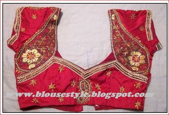 latest stone work back neck blouse design