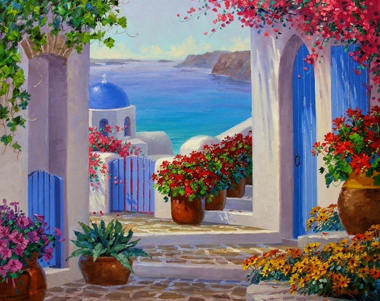 cuadros-de-paisajes-con-flores