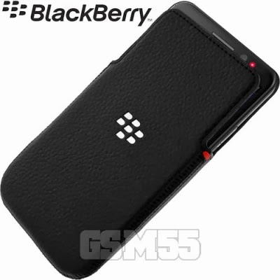 Housse folio leather pocket noire pour BlackBerry Z30
