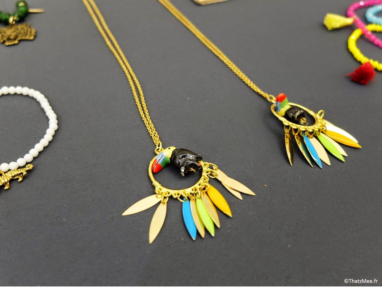 bijoux Pelican bleu sautoir coloré pelican Boutique éphémère The Tops