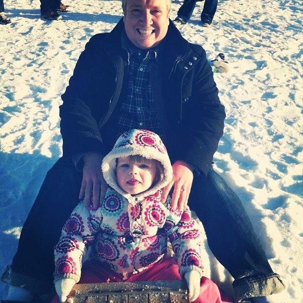tobogganing with Daddy