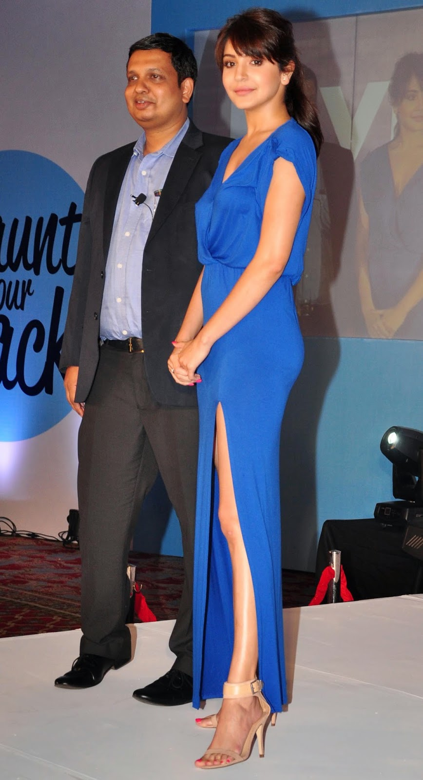 Anushka Sharma in Blue at Nivea Flaunt Your Back Campaign Launch J W Marriott Mumbai