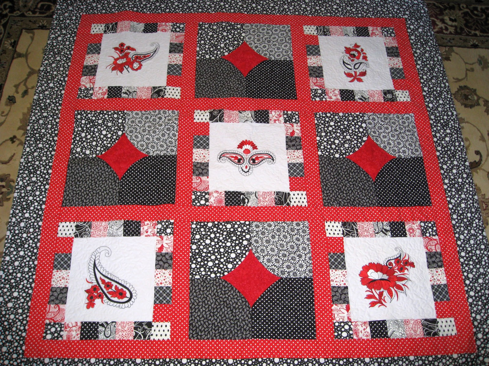 Vickis Fabric Creations Black And White And Red All Over Quilt