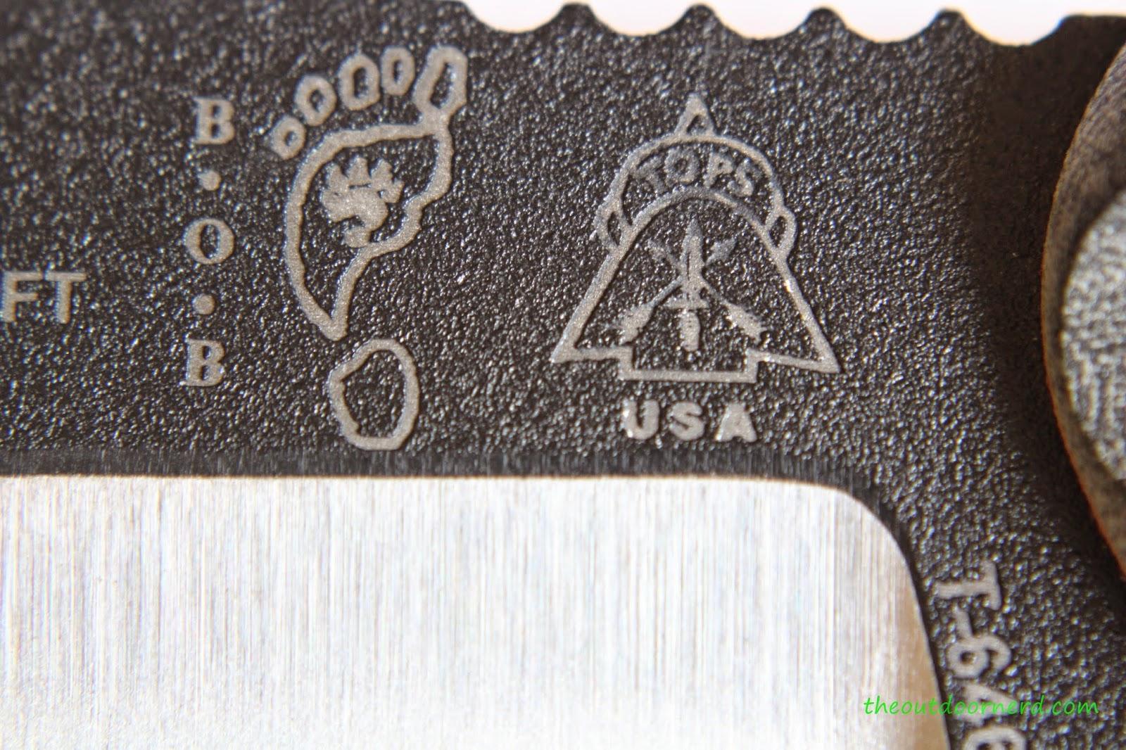 Tops Fieldcraft Fixed Blade Knife: Logo Closeup