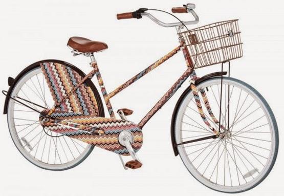 bicicleta de luxo com estampa zigue-zague banco de couro Missoni