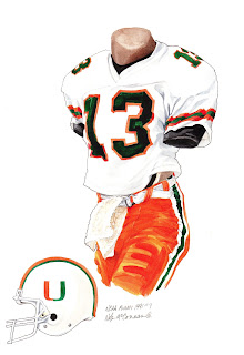 1991 University of Miami Hurricanes football uniform original art for sale
