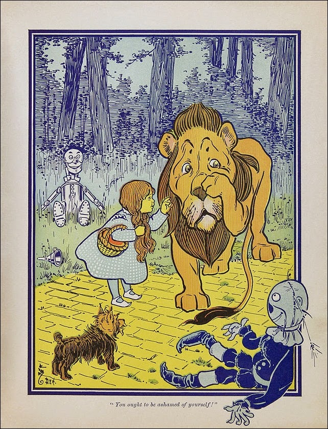Dorothy meets the Cowardly Lion in the Wonderful World Of the Wizard of Oz
