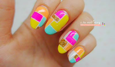 Colorful block line tape nail art for summer