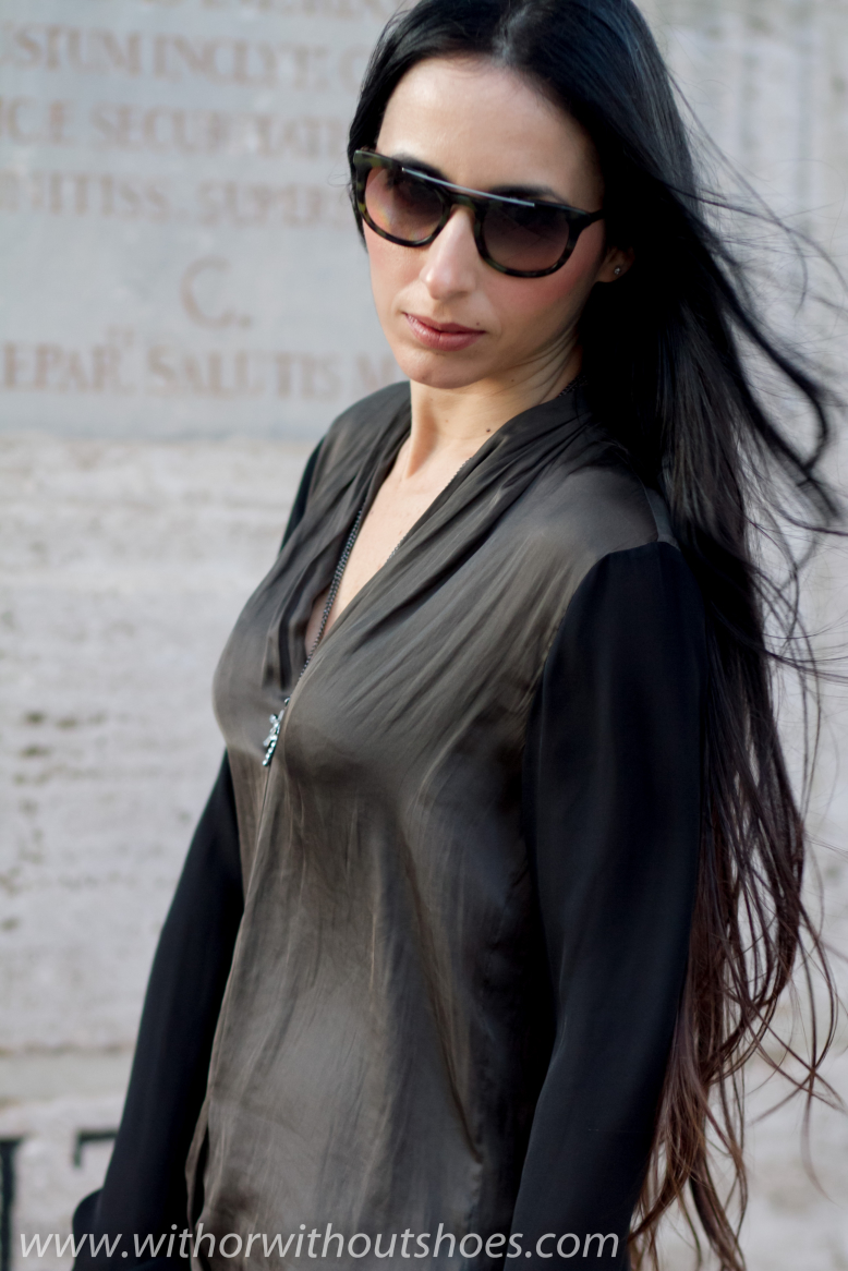 TWO-TONED SILK BLOUSE