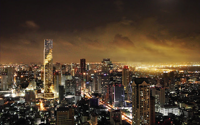 Photo of new Bangkok skyline at night with Maha Nakhon