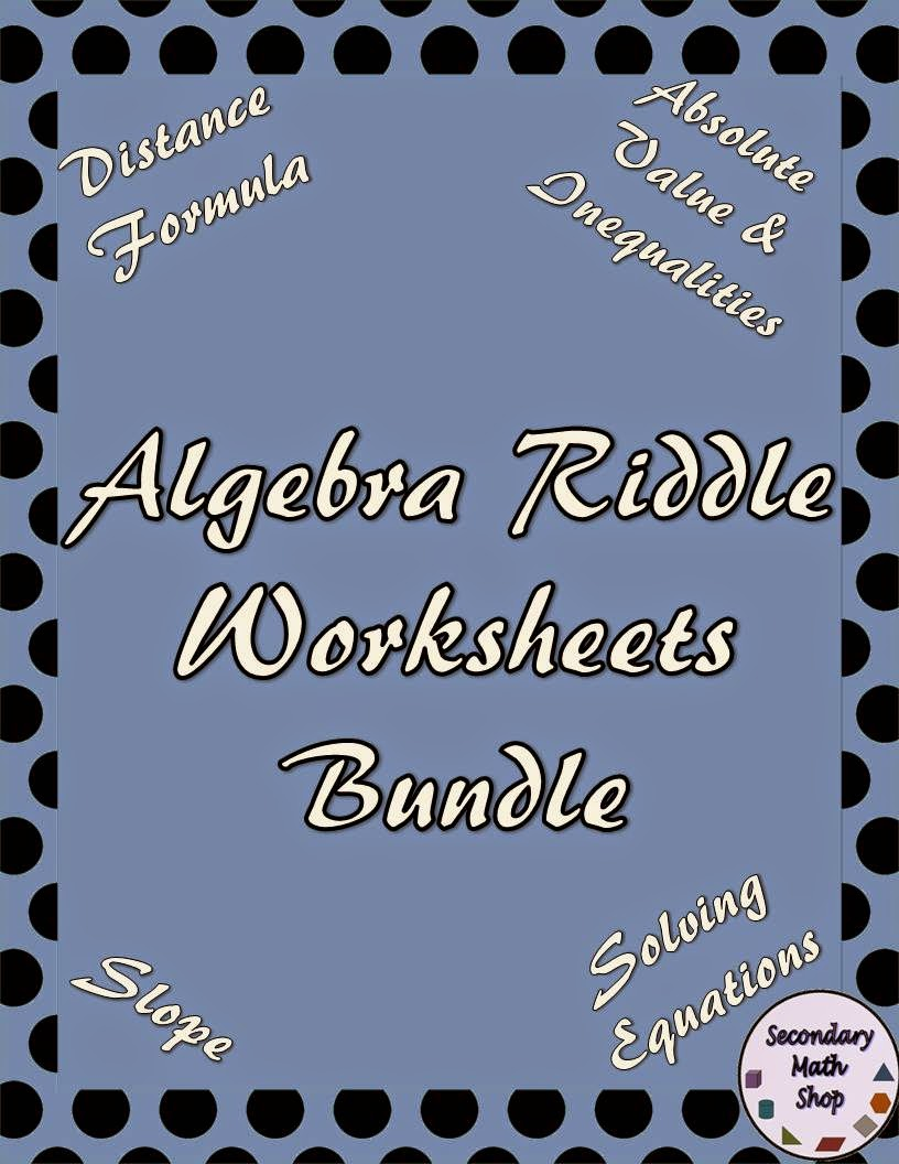 The Spectacular World Of Secondary Math: Riddle Worksheets, Mazes ...