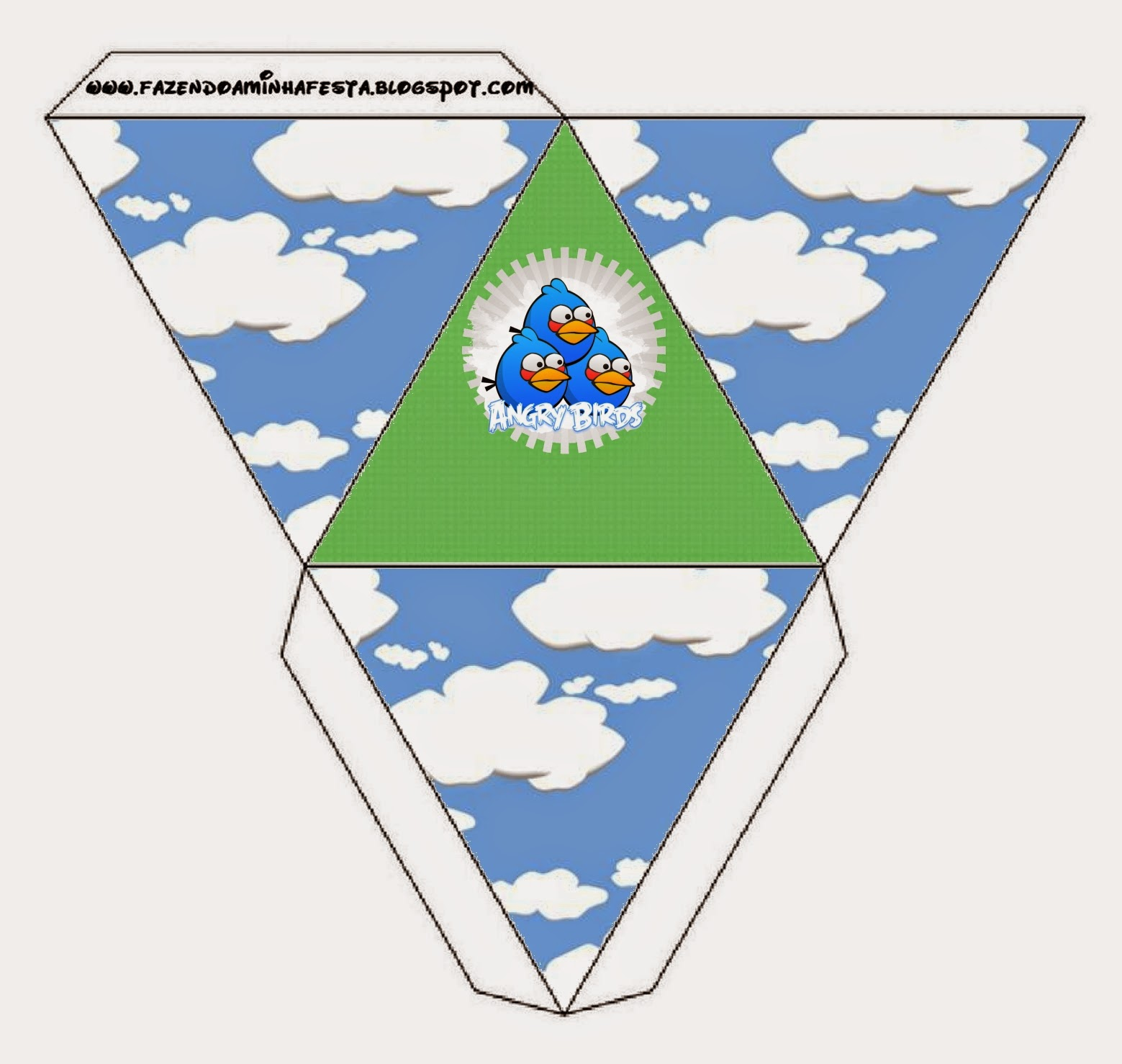 Free Printable Pyramid Box Angry Birds with Clouds