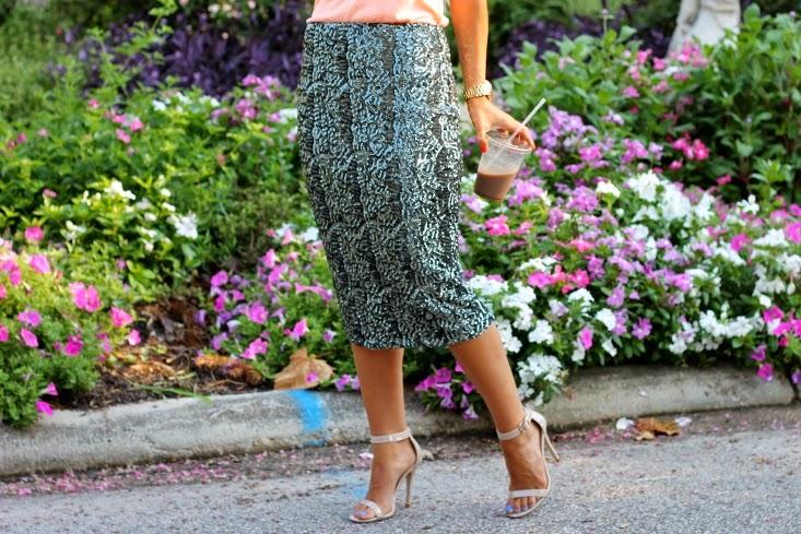 sequin pencil skirt with heels