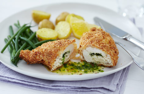 Chicken Kiev, Roasted Red Potatoes & String Beans