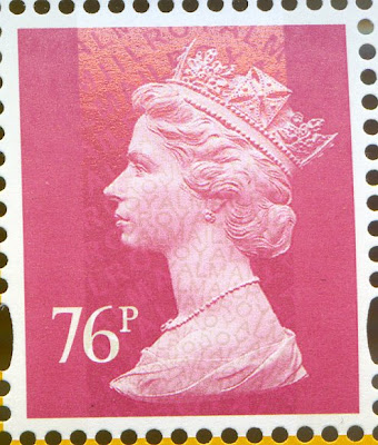 76p Machin definitive from Aerial Post Centenary PSB showing security overprint.